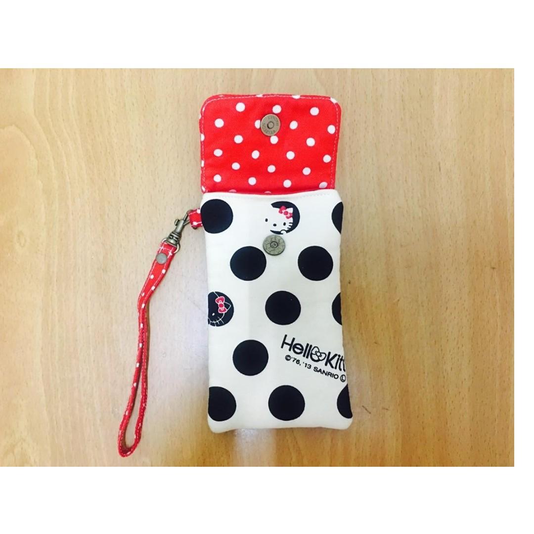 (全新)Hello Kitty手作包白底黑點點紅點點棉質蝴蝶結磁扣式掛繩保護套保護包相機套相機包手機套手機包筆袋萬用袋