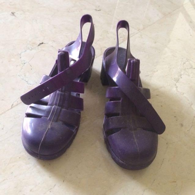 JUJU chunky heels jelly shoes