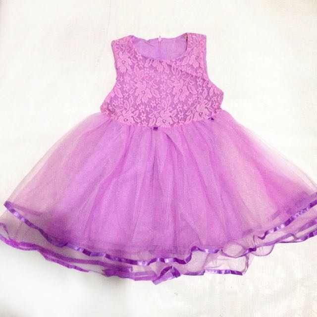 Korean Lavender Lace Tutu Dress For Kids Girls
