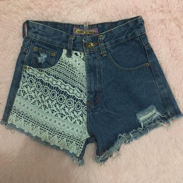 Lace denim shorts 25-26