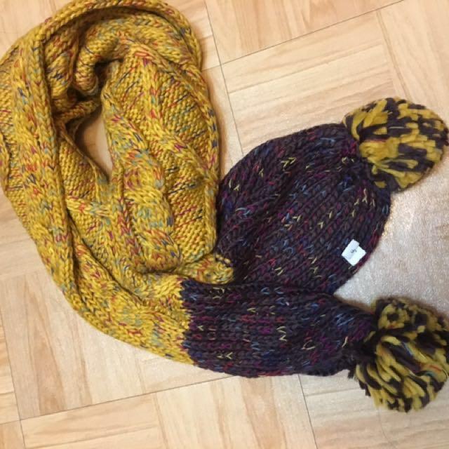 Lativ 毛球 混色 圍巾
