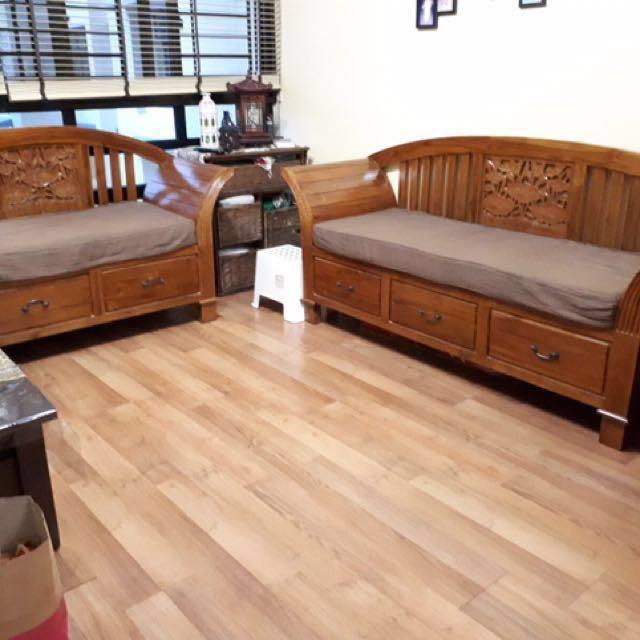 Lotus Flower Carving Teakwood Sofa Set Furniture Sofas On
