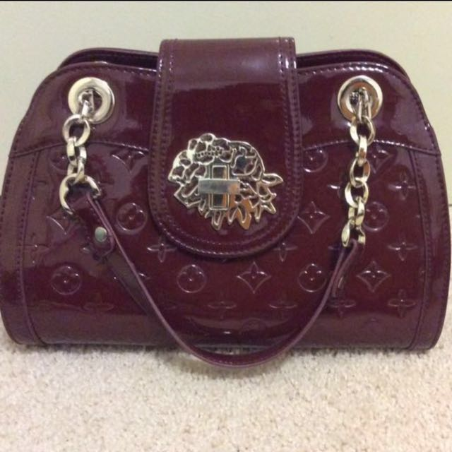 LV patent monogram handbag