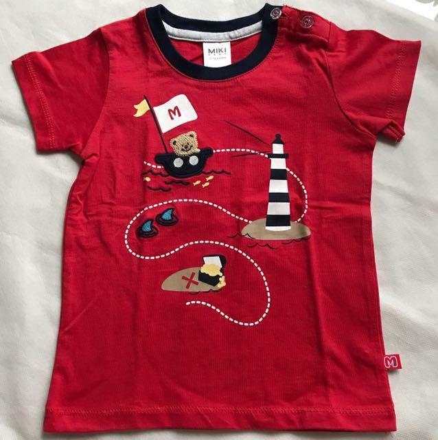 Miki baby red emboss bear shirt