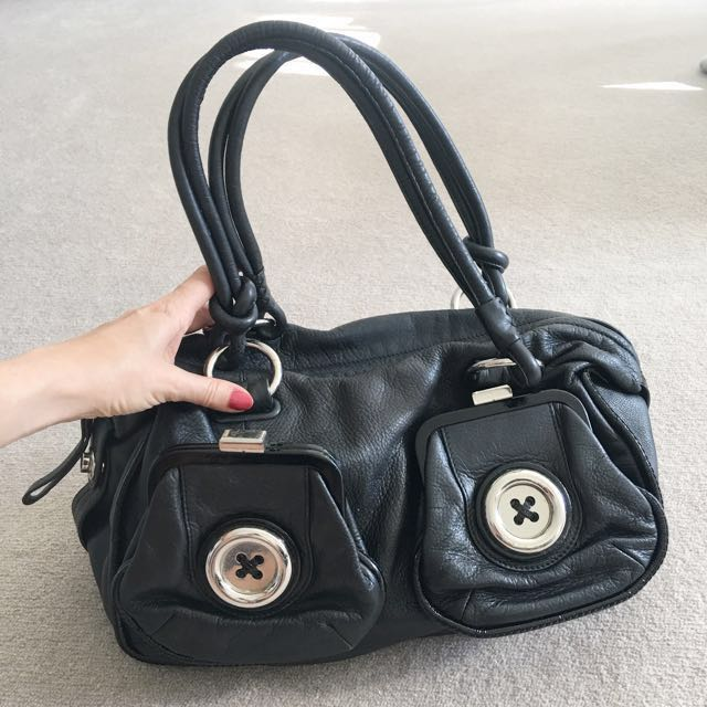 Mimco Medium Black Genuine Leather Bag great style and condition