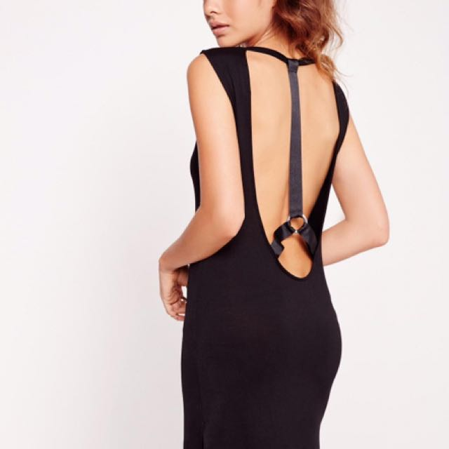 Missguided Harness Wide Strap Shift Dress Black