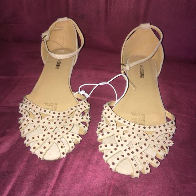 New Girls Express Beige Diamanté Sandals