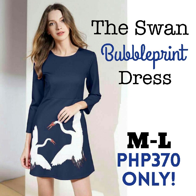 🎄New! Sale Price! 🎁 Great Gift Idea   Php390 only  THE SWAN BUBBLE PRINT RETRO DRESS  📍Available in 2 colors: Pink and Blue  📍Freesize: Fits Medium to Large  📍Pre-order
