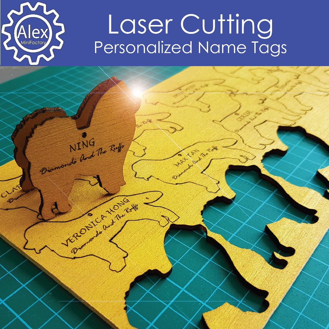 Personalised Name Tag Laser Cut And Wood Engraving As Gifts