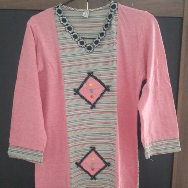 Preloved Baju Gamis Fit to XL gede Katun Pink