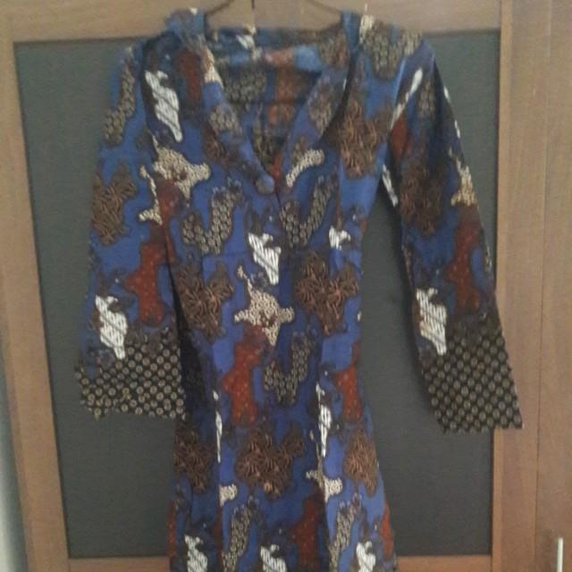 Preloved Dress Kemeja Panjang Batik Fit to L Katun Cakep