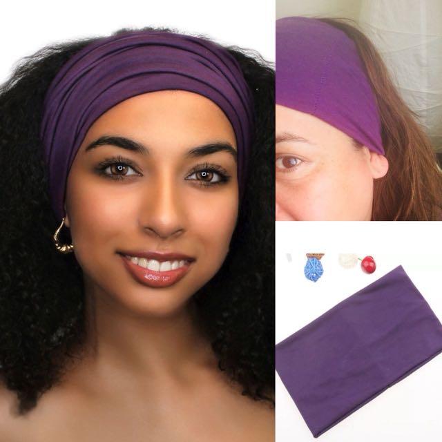 Purple cotton headband