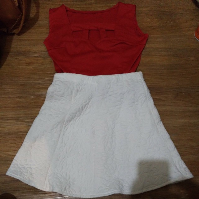Red Crop Top and White Skirt Combination