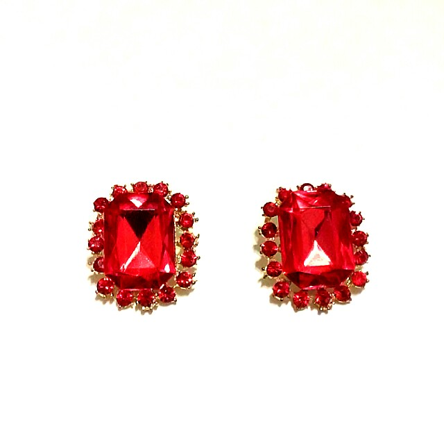 Red Stone and Gold Earrings