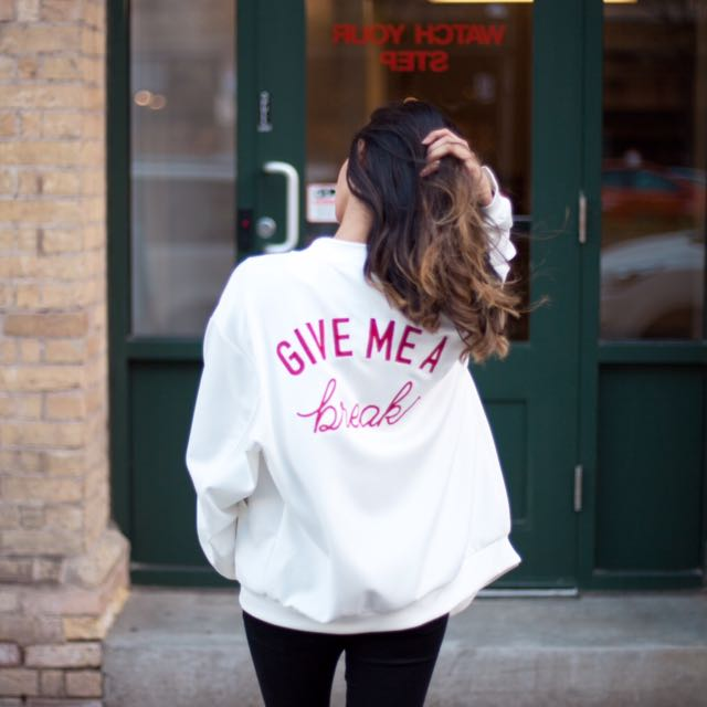 Retro White Bomber With Red Embroidery