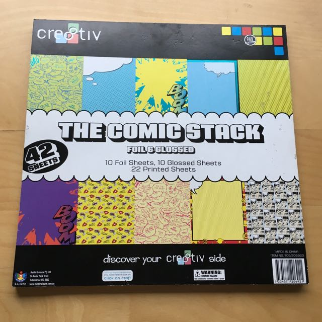 Scrapbooking Paper Comic-themed Stack