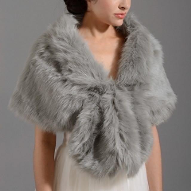 Silver Faux Fur Wrap