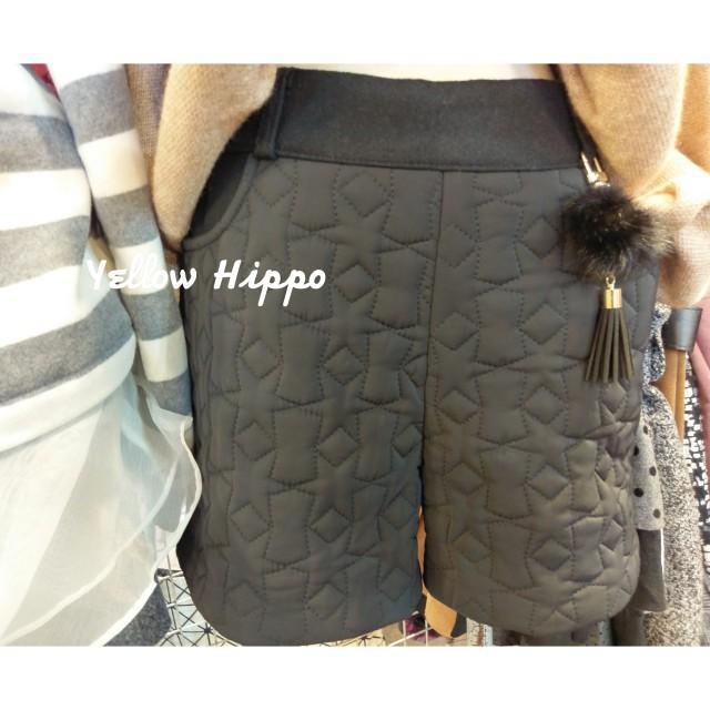 ✈(正韓現貨實拍)質感star紋理__QQ毛球吊飾舖棉短褲
