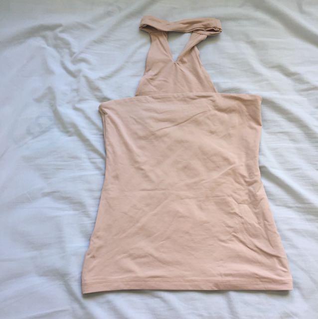 Strapless nude kookai top with choker