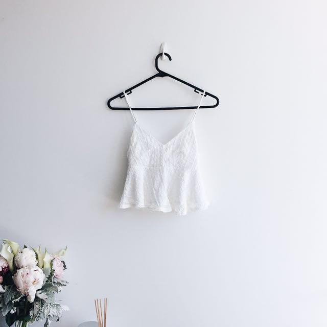 Topshop cream white crochet tank top