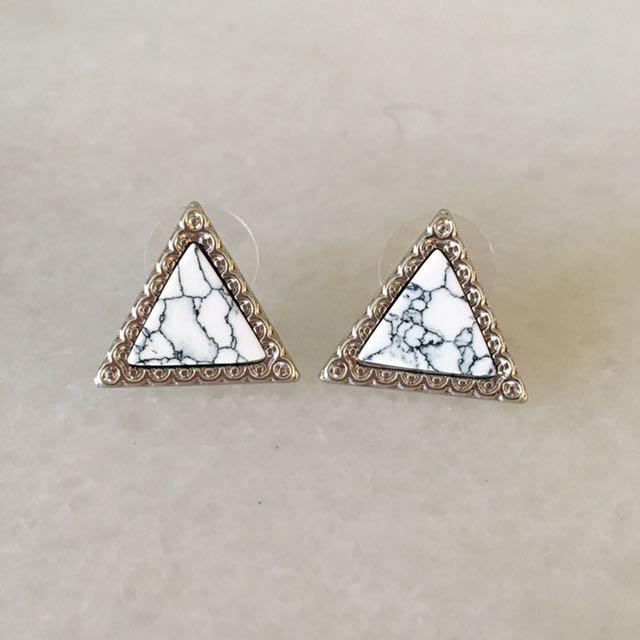 Triangle marble studs earrings hypoallergenic