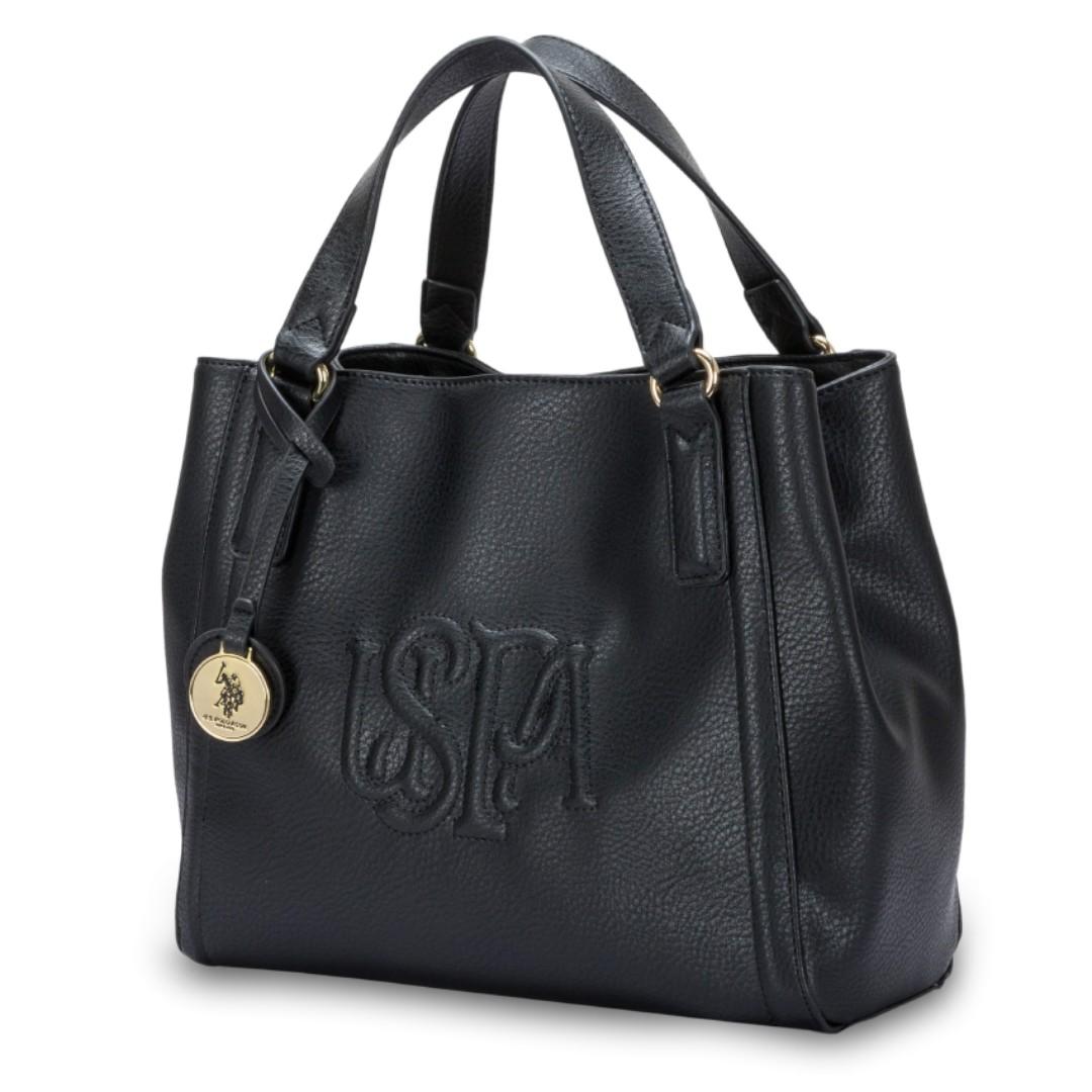 5694905b7f8e US Polo Assn. Elmer Double Handle Handbag - Black