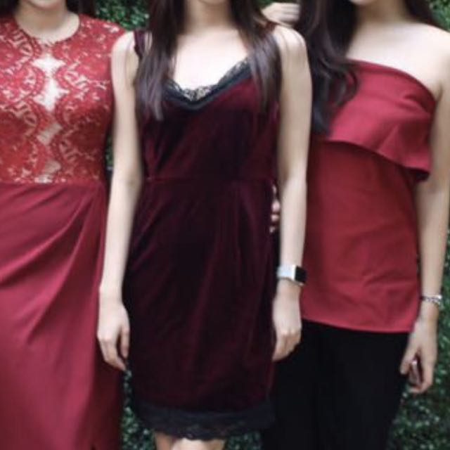 Velvet maroon dress
