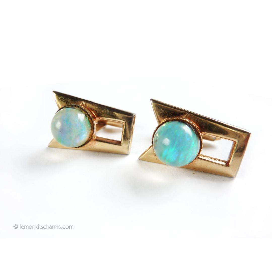 Vintage Opal Cuff Links Cufflinks, cl28-c