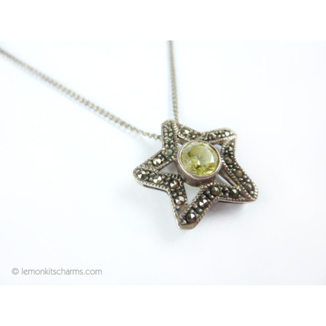 Vintage Sterling Silver Gemstone Star Pendant Necklace, nk1025-c