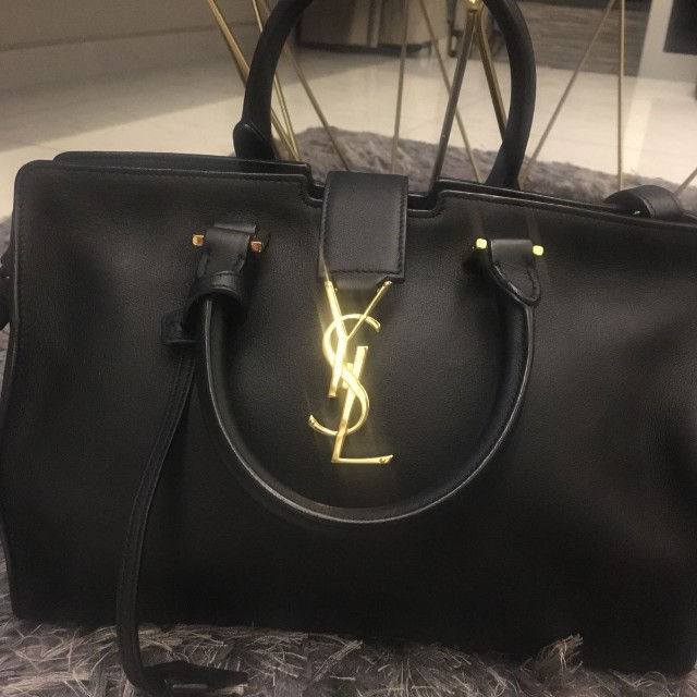 selected material modern and elegant in fashion beautiful style YSL Saint Laurent Small Cabas Black Leather Bag, Luxury ...
