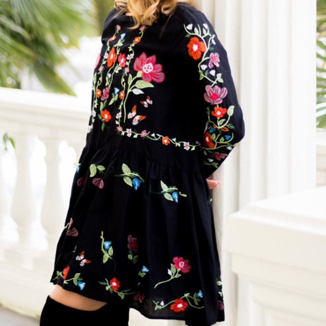 e14963b915 ZARA Black Embroidered Floral Dress