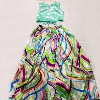 Corset Top With Maxi Skirt Set Kids Girls