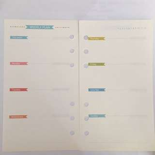 Weekly planner inserts for A6 planners (20 pieces)