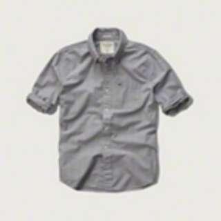 A&F Plaid Poplin Shirt (Grey)