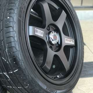 Te37 17 inch sports rim honda civic fd tyre 70% estimated max. Te37 kaler hitam, confirm membuat hati sidia mengidam!!!