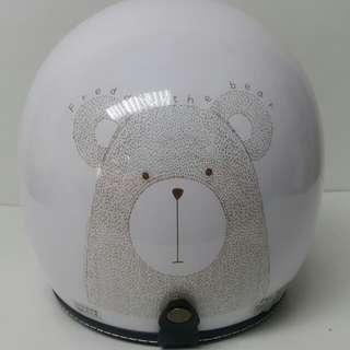 EVO CA-309/CA309 手繪熊 白 3/4半罩式安全帽(送抗UV長鏡片)