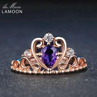 紫色水晶皇冠戒指