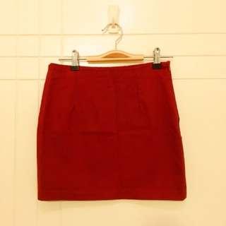 Dark Red Mini Skirt