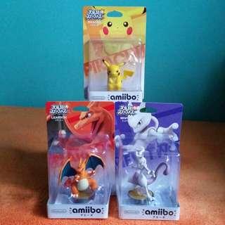 BNIB Nintendo Amiibo Pokemon Smash Bros. Series Figure Lizardon / Mewtwo / Pikachu Wii U 3DS