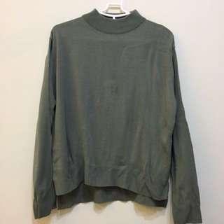正韓 灰綠色針織上衣
