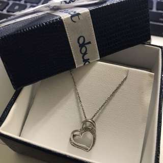Double Heart Stirling Silver Necklace