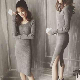 灰色修身開叉連身裙