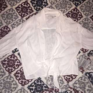 Aritzia long sleeve HUANG tie front blouse