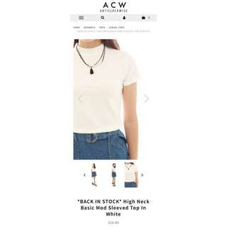 ACW HIGH NECK BASIC MOD SLEEVED TOP IN WHITE & DARK GREY