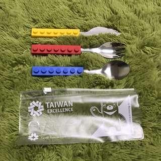 全新|台灣精品展 台灣製 樂高造型環保餐具組