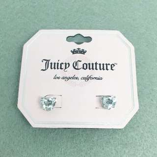 Juicy Couture Sample Earrings 925純銀針閃石心形皇冠耳環