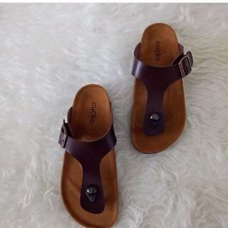 sendal cucko brown .. ready size 39 - 40