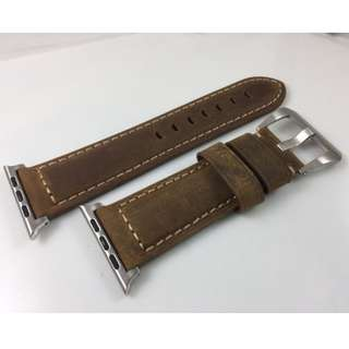 Apple Watch 錶帶 Panerai皮帶款 深啡 38mm 42mm Apple Watch Leather Strap brown color