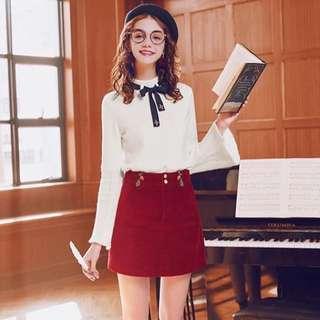🎄聖誕新年女裝推介 燈芯絨紅色刺繡短裙 裙 半截短