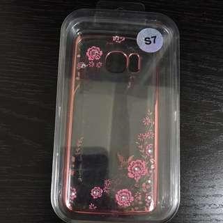Samsung S7 粉紅閃石花紋矽膠套